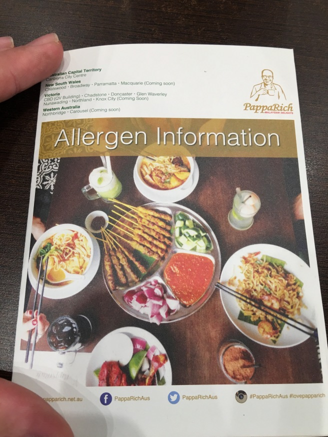 PappaRich Allergy Menu